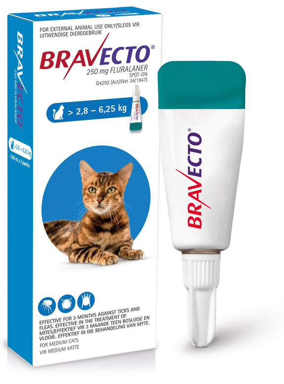 Bravecto Spot-On Cat 2.8-6.25kg Medium